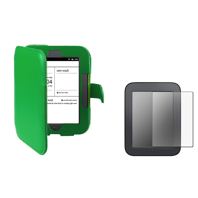 INSTEN Green Phone Case Cover/ Anti-glare Screen Protector for Barnes & Noble Nook 2