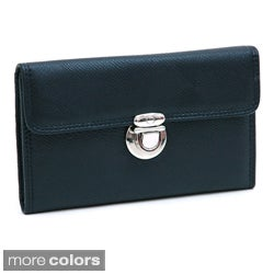 Dasein Faux-Leather Tri-Fold Checkbook Wallet with Buckle-Snap Closure