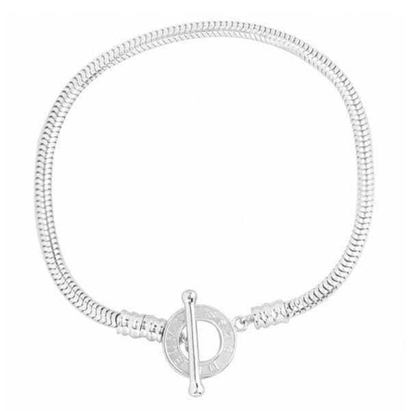 De Buman High-polish Sterling Silver Snake Charm Toggle-clasp Bracelet