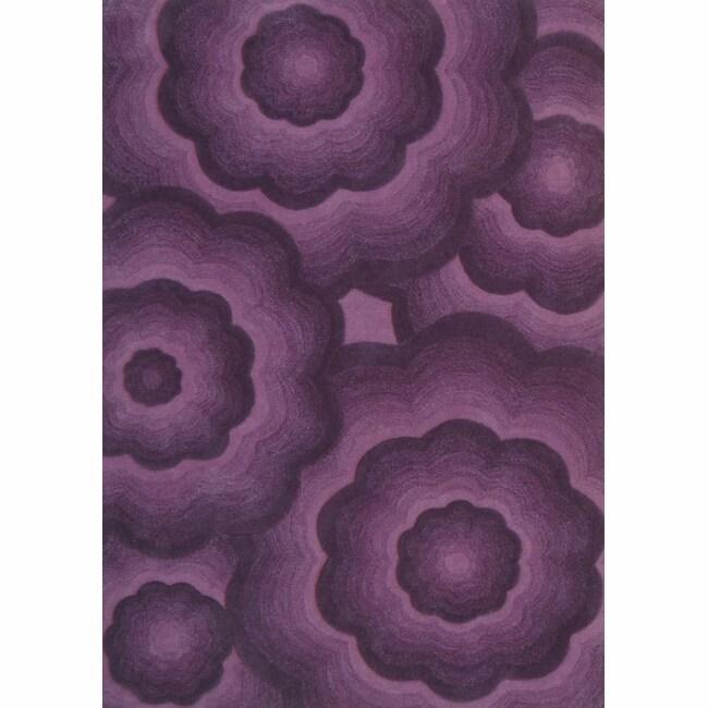 nuLOOM Handmade Moda Floral Plum Wool Rug (5' x 8')