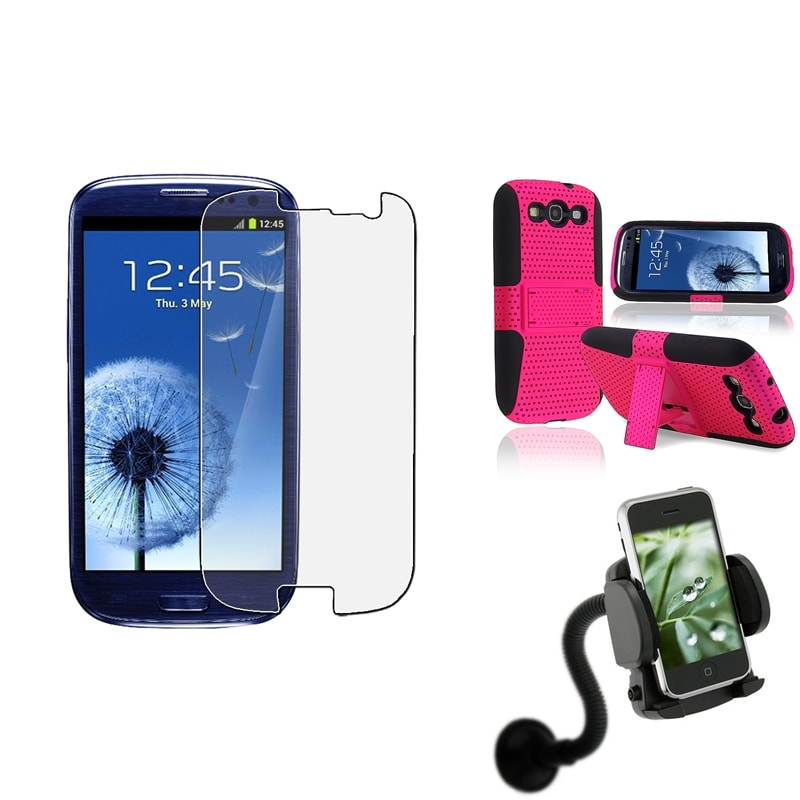 Hybrid Case/ Screen Protector/ Car Mount for Samsung Galaxy S III/ S3
