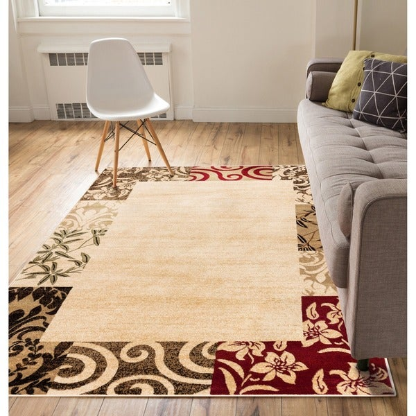 Well Woven Patchwork Damask Border Beige Area Rug - 9'3 x 12'6