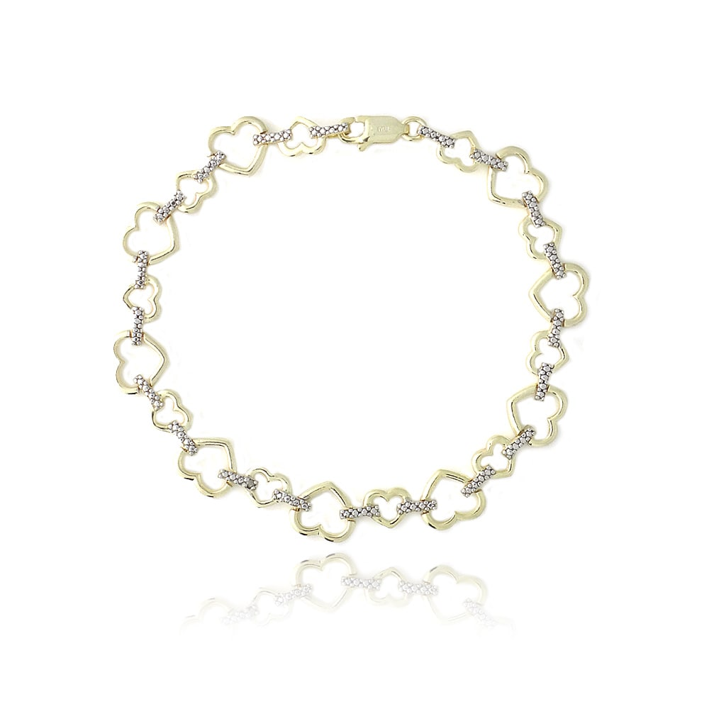 DB Designs Two-tone Sterling Silver Diamond Accent Heart Link Bracelet