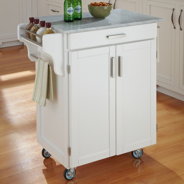 White Finish Marble Top Cuisine Cart