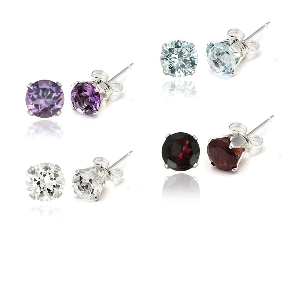Glitzy Rocks Silver 7 7/8ct TGW Gemstone 4-piece Stud Earring Set