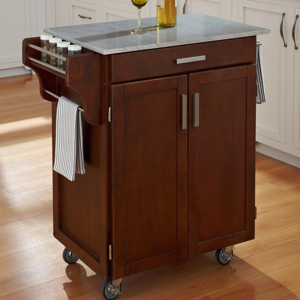 Cherry Finish Marble Top Cuisine Cart