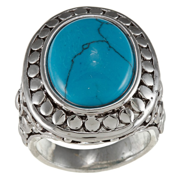 City by City City Style Silvertone Stabilized Turquoise Antique Bali Ring