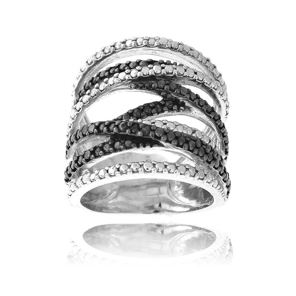 DB Designs Sterling Silver Black Diamond Accent Fashion Ring - Thumbnail 0