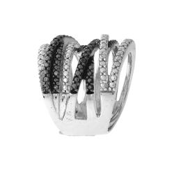 DB Designs Sterling Silver Black Diamond Accent Fashion Ring - Thumbnail 1