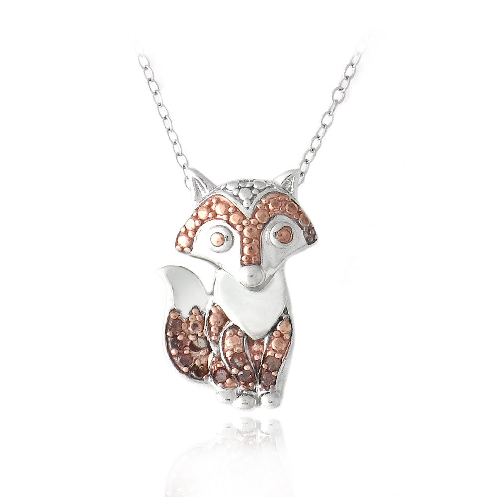 DB Designs Rose Gold over Silver 1/10ct TDW Red Diamond Fox Necklace