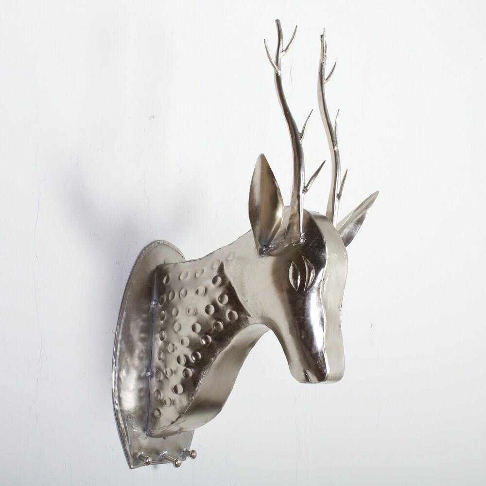Nickel Plated Wall Mounted Deer Head