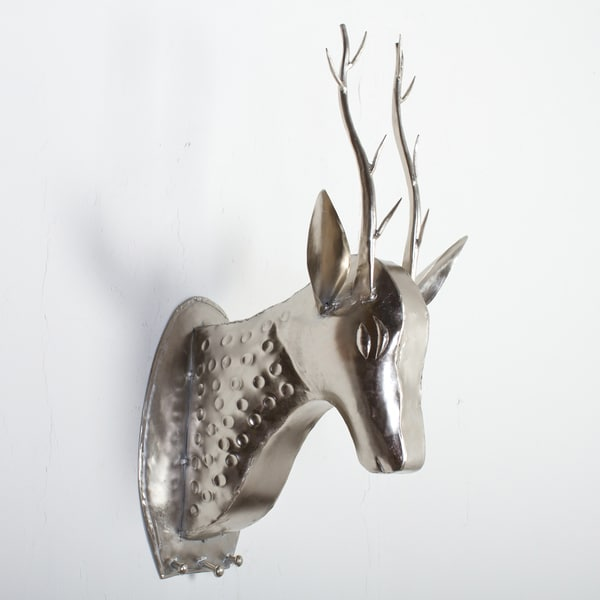 Nickel Plated Wall Mounted Deer Head