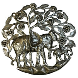 24-inch 'Mother Elephant and Calf' Metal Art (Haiti)