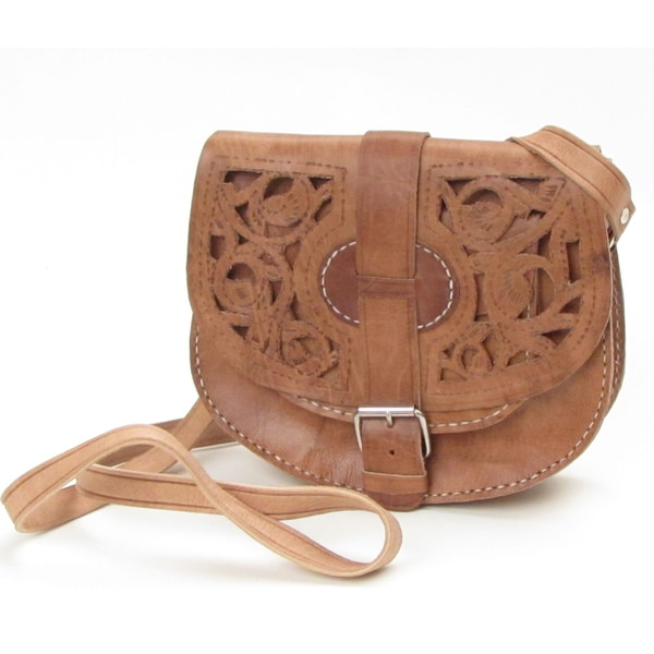 Women's Large Honey-brown Cut-out Design Leather Saddle Bag (Morocco)