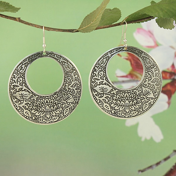 Handcrafted Silver Plated Brass Floral Filigree Dangle Earrings (India)