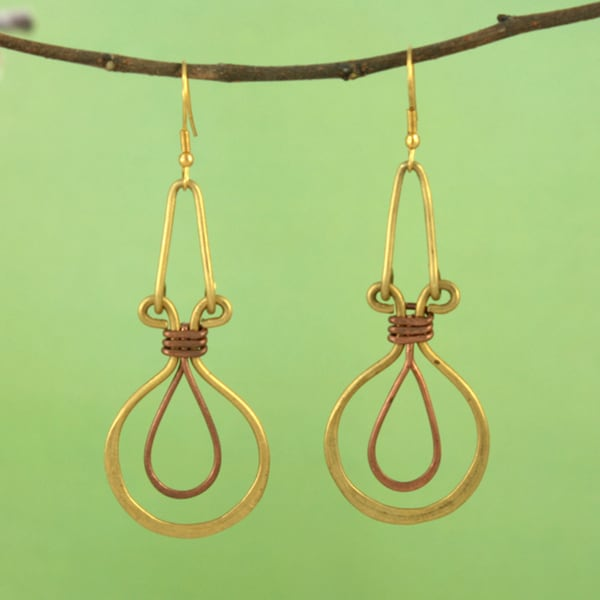 Handcrafted Recycled Metal Ankh Dangle Earrings (India)