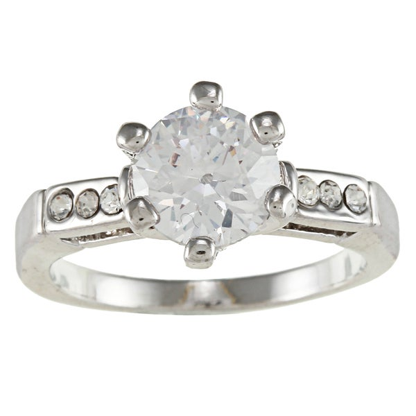 City by City City Style Silvertone Clear Cubic Zirconia Solitaire Engagement-style Ring