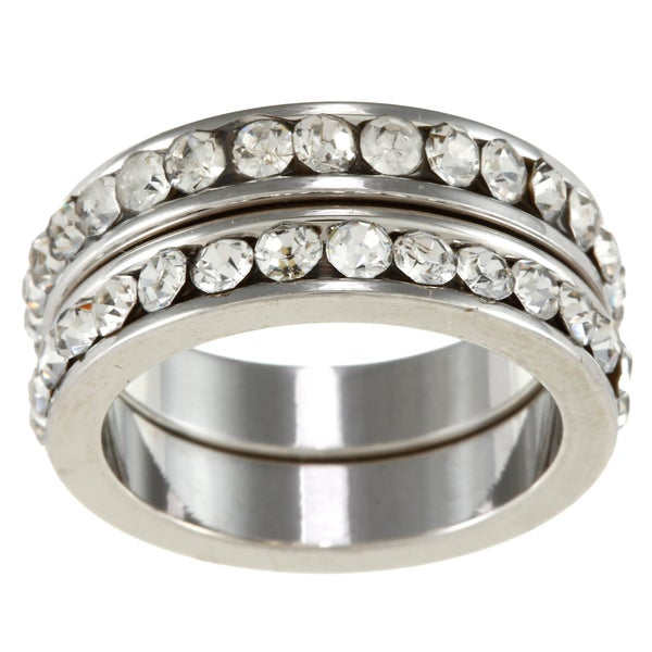 City by City City Style Silvertone Clear Crystal 2-piece Stackable Band Set