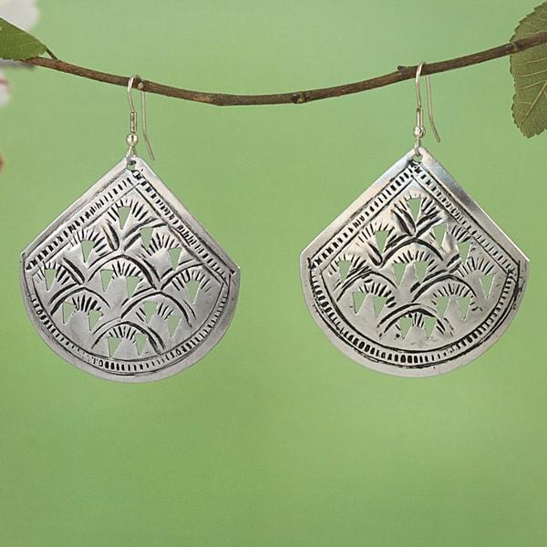 Handcrafted Silver Plated Brass Fan Cutwork Dangle Earrings (India)