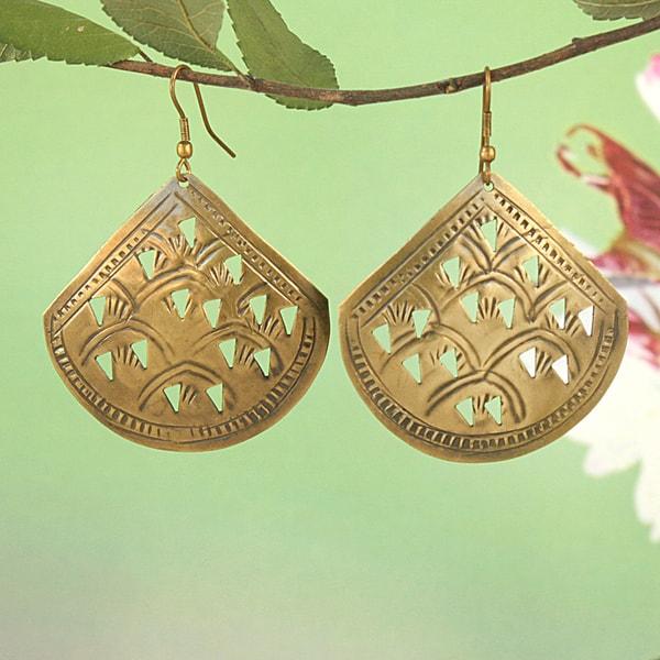 Handcrafted Brass Fan Cutwork Dangle Earrings (India)