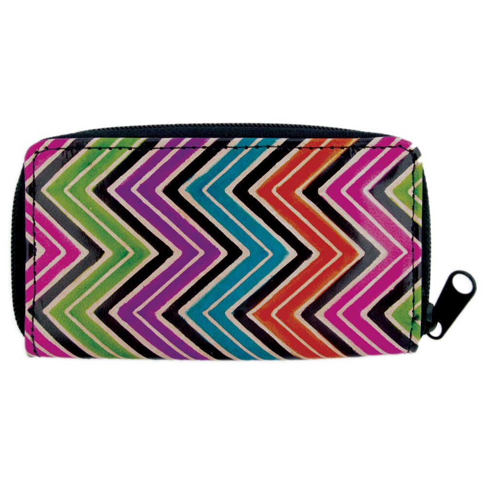 Handcrafted Stamped Multi-color Leather Zip-around Wallet (India)