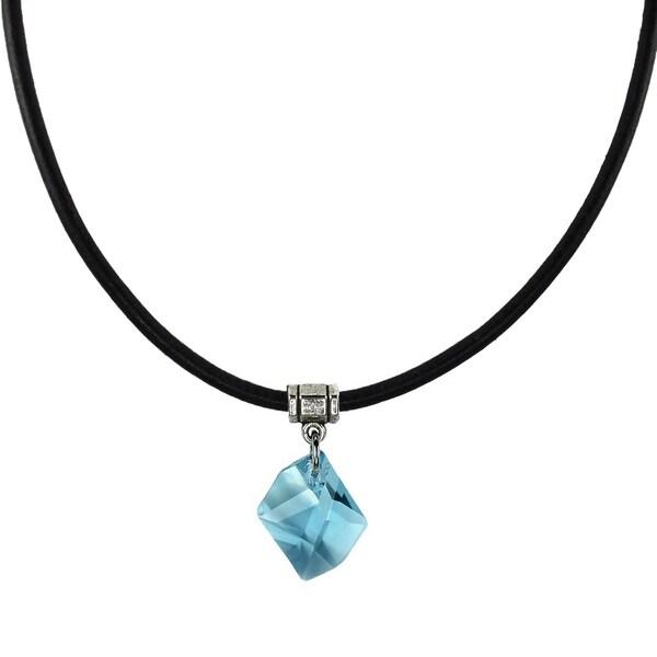 Handmade Jewelry by Dawn Aquamarine Crystal Cosmic Leather Necklace (USA)