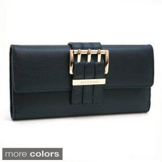 Anais Gvani Textured Genuine Italian Leather Checkbook Wallet with Buckle Accent (2 options available)