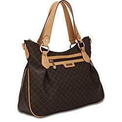 Rioni 'The Jenny Bag' Signature Brown Canvas and Leather Trim Handbag - Thumbnail 0