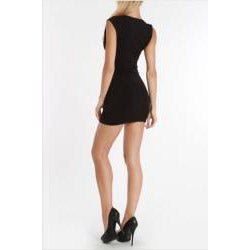 247 Frenzy Juniors Black Cap-Sleeved Zip Dress
