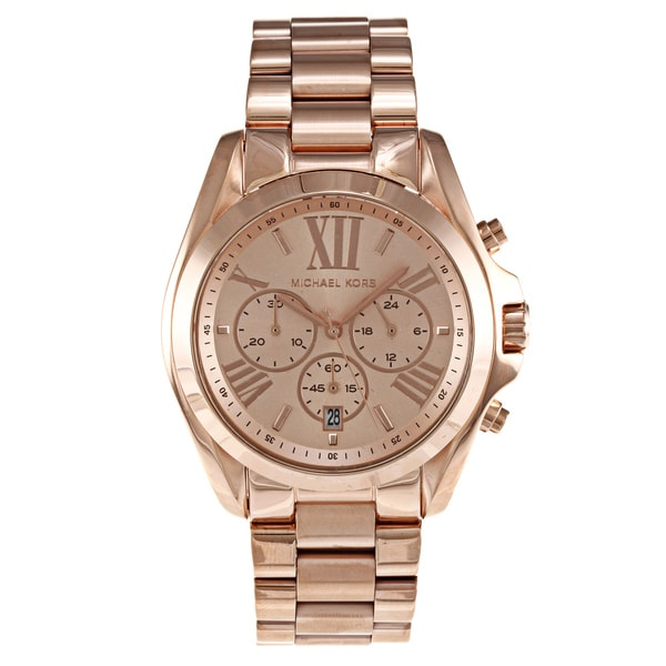 751992e0608 Shop Michael Kors Women s  Bradshaw  Stainless Steel Rose Goldtone ...