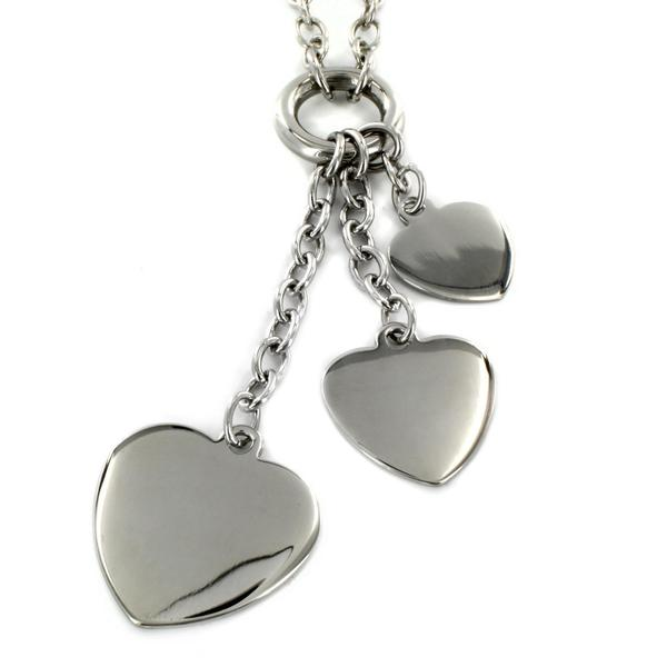 ELYA Stainless Steel Triple Heart Necklace