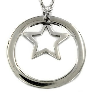 Stainless Steel Open Circle and Star Necklace