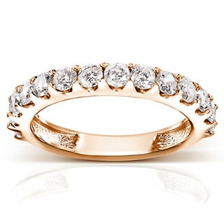 Annello by Kobelli 14k Gold 1ct TDW Diamond Semi-eternity Wedding Band