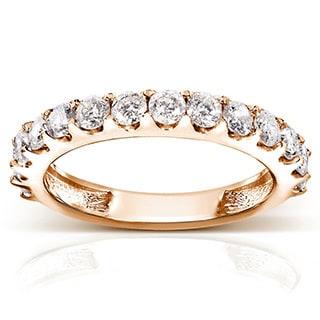 Annello by Kobelli 14k Gold 1ct TDW Diamond Semi-eternity Wedding Band