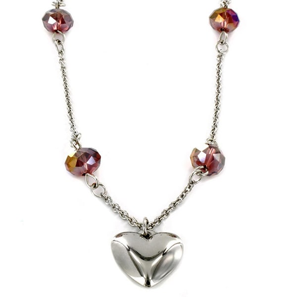 West Coast Jewelry Stainless Steel Heart and Crystal Necklace