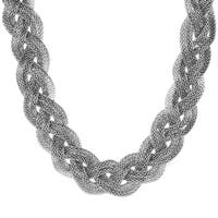 Stainless Steel Mesh Braided Necklace - Silver