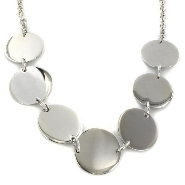 West Coast Jewelry Stainless Steel Polished Disc Linked Necklace