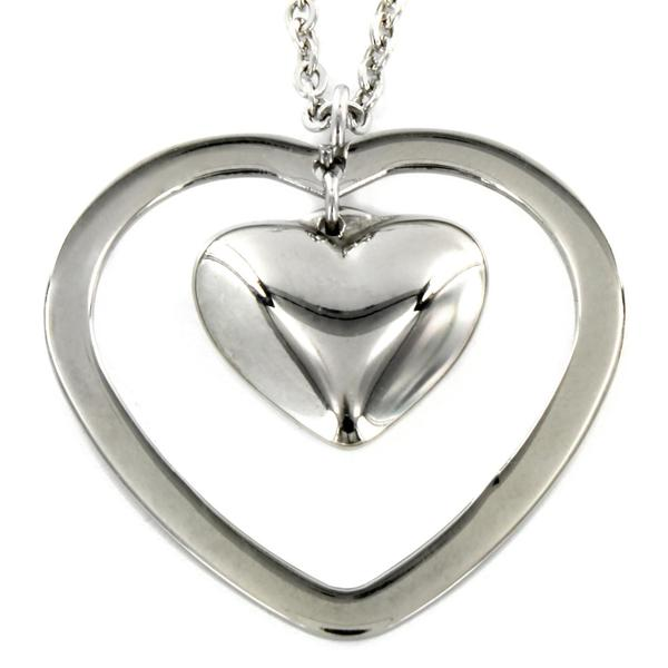 Stainless Steel Double Heart Pendant Necklace