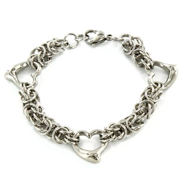 Elya Designs Stainless Steel Open Heart Bracelet
