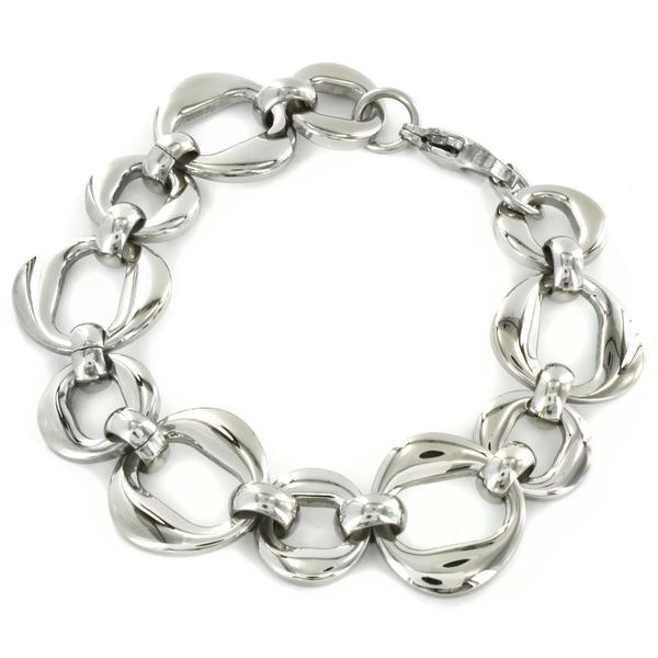 West Coast Jewelry Stainless Steel High Polished Oval Link Bracelet