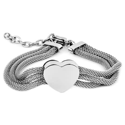 ELYA Stainless Steel Heart Mesh Bracelet