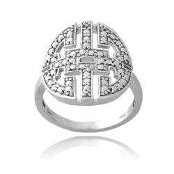 DB Designs Sterling Silver Diamond Accent Greek Key Medallion Ring