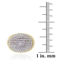 DB Designs 18k Yellow Gold over Sterling Silver Diamond Accent Oval Dome Ring - Thumbnail 2