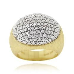DB Designs 18k Yellow Gold over Sterling Silver Diamond Accent Oval Dome Ring