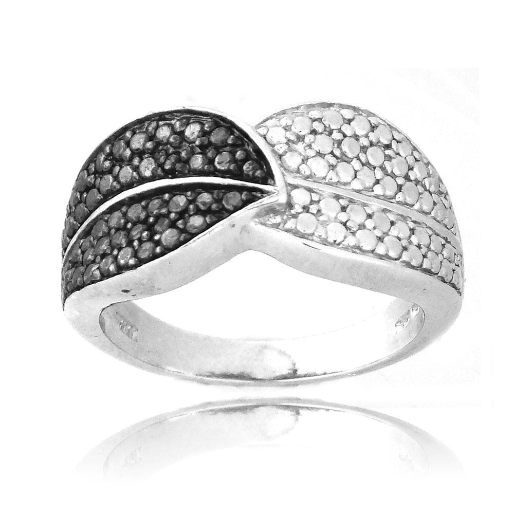 DB Designs Sterling Silver Black Diamond Accent Leaf Ring - Thumbnail 0