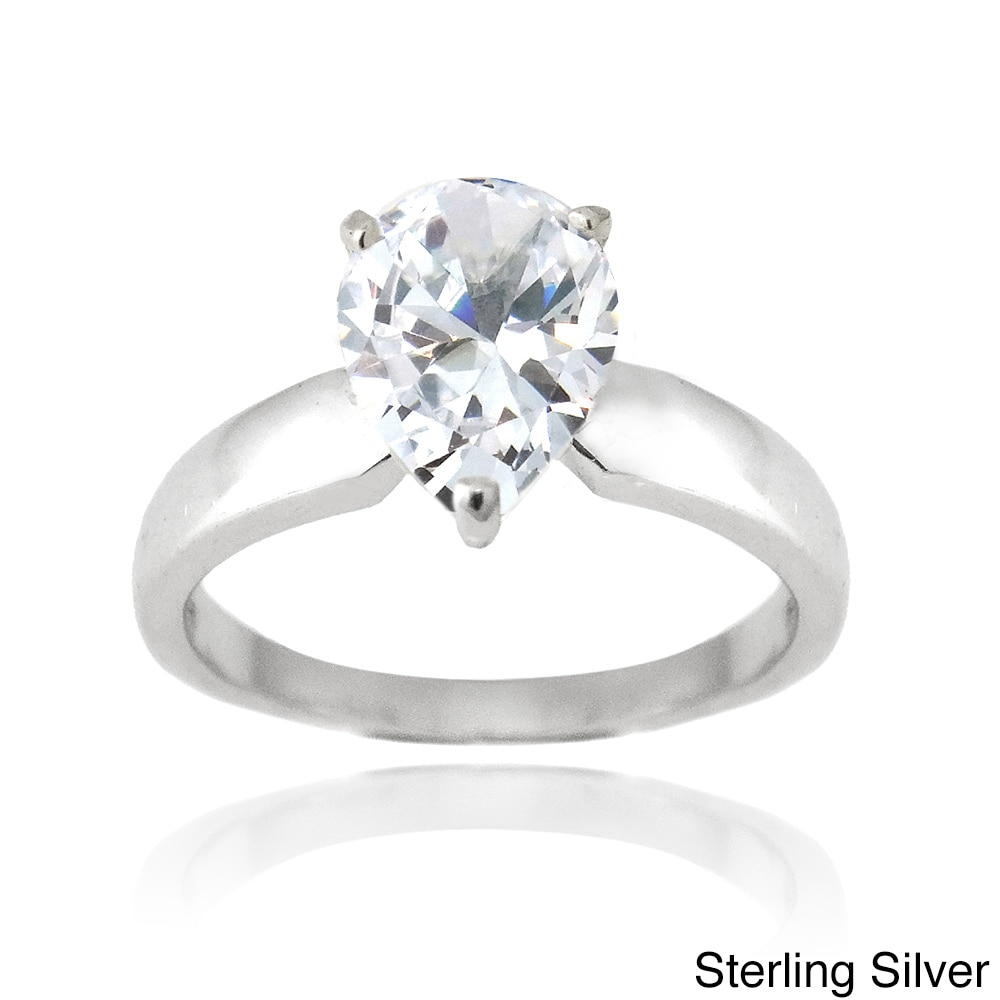 Fashion Jewelry 4mm Platinum Plated Silver 2ct Cz Solitaire Bypass Wedding Engagement Ring Size9