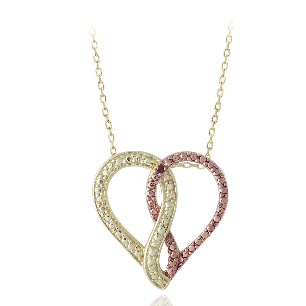 DB Designs 18k Yellow Gold over Sterling Silver Red Diamond Heart Necklace
