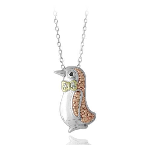 DB Designs Tri-color Sterling Silver Red Diamond Penguin Necklace