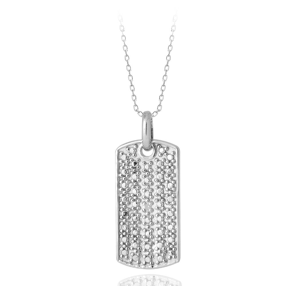 DB Designs Sterling Silver Diamond Accent Dog Tag Necklace