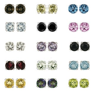 Glitzy Rocks Sterling Silver Gemstone 6-mm Stud Earrings (More options available)